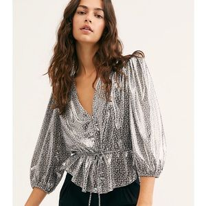 NWT Free People Talk That Talk Silver Blouse M